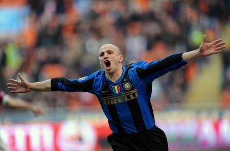 Inter Milan's Argentinian midfielder Esteban Cambiasso celebrates after scoring against Reggina during their Italian Serie A football match on March 22, 2009 at San Siro Stadium in Milan. (Getty Images)