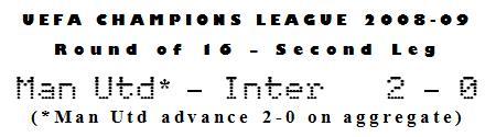 UEFA Champions League 2008-09 - Round of 16, Second Leg - Man Utd 2-0 Inter Milan