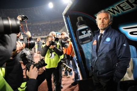 Roberto Donadoni (R) arrives for his first match as new coach of Napoli prior his team's Italian Serie A football match against AC Milan on March 22, 2009 at San Paolo Stadium in Naples. The match ended in a 0-0 draw. (Getty Images)