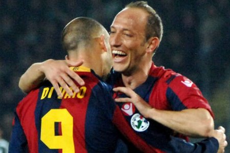 Bologna's Massimo Mutarelli (R) celebrates with teammate Marco Di Vaio after his goal.