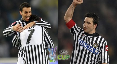 (LEFT) Udinese's Fabio Quagliarella, left, celebrates after scoring with his teammate Simone Pepe, during a UEFA Cup, Round of 16, first-leg soccer match between Udinese and Zenit St. Petersburg, in Udine, Italy, Thursday, March 12, 2009. (AP Photo) (RIGHT) Udinese's Antonio Di Natale celebrates after scoring on a penalty kick during a UEFA Cup, Round of 16, first-leg soccer match between Udinese and Zenit St. Petersburg, in Udine, Italy, Thursday, March 12, 2009.  (AP Photo) (