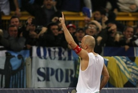 Lazio forward Tommaso Rocchi reacts after scoring a goal during their first leg semifinal Italian Cup soccer match against Juventus at Rome's Olympic stadium, Tuesday, March 3, 2009. Lazio won 2-1. (AP Photo)