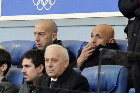 Luciano Spalletti sits in the Olimpico stands