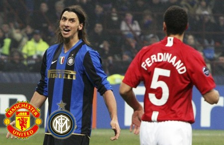 Inter Milan's Zlatan Ibrahimovic (L) reacts beside Manchester United's Rio Ferdinand during their Champions League soccer match at San Siro stadium in Milan February 24, 2009. (REUTERS)