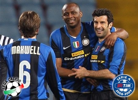 Inter Milan's Patrick Vieira of France, center, and teammates Luis Figo of Portugal, right and Maxwell react after scoring, during a Serie A soccer match between Udinese and Inter Milan in Udine, Italy, Sunday, April 5, 2009. (AP Photo)
